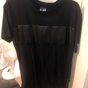 Black leather striped over sized tee